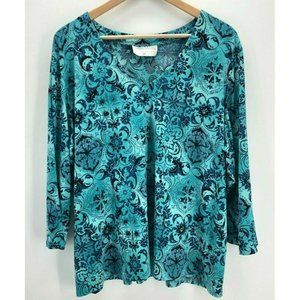 Vintage Pamela McCoy Womens Top Blouse 3X Blues